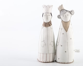 Royal Couple - King and Queen in Beige and white dotted gold crown , Dressed in natural colors  -  handmade eco fabric dolls