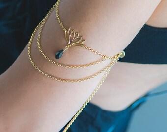 Gold Chain Armlet | Layering Upper Arm Bracelet | Crystal Beaded BOHO Arm Cuff | Summer Jewelry | Beach Accessory | Bikini Jewelry