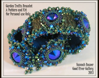 Bead Tutorial Garden Trellis Beaded Bracelet peyote stitch pattern instructions by Hannah Rosner - intermediate level beading design