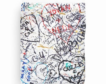 Graffiti Duvet Cover, Teen Room Decor, Dorm Bedding, Duvet Cover Queen, King, Twin, Verona Love Graffiti, Italy Decor, Multicolor, Hearts