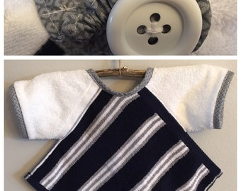 BL028 -  FREE SHIPPING - Baby Bib with Sleeves, Toddler Bib with Sleeves, Button Clasp, First Birthday, Navy, Gray, Stripes