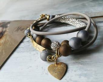 Handstamped bracelet, dedication bracelet, druzy agate bracelet, personalized jewelry, wedding gift, boho bracelet, zen bracelet