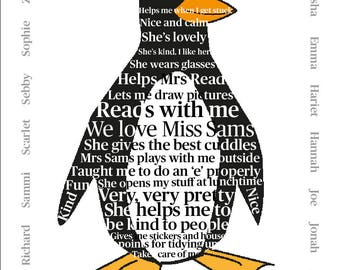 Penguin Word Art Print - Perfect for your busy bee!  by Rachael Partis Design