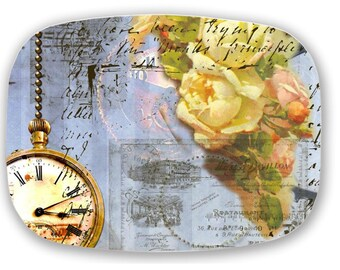 ThermoSaf Steampunk Pocket Watch clock Yellow Rose Ephemera Melamine Serving Platter Tray
