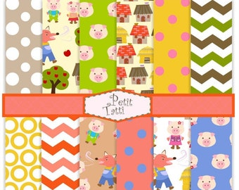 ON SALE Three little pigs clip art - Digital paper, digital paper for kids, three little pigs digital paper, instant download clip art