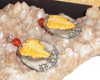 Earrings fall carnelian, women gift.