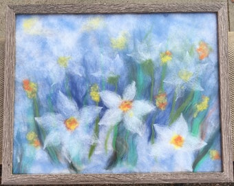 Beautiful flowers; Felt painting, painting.