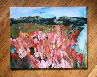 "Acrylic Montana Landscape, acrylic painting, original painting, Montana Landscape, Floral field, abstract landscape, small painting, 16x20"""