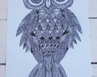 A4 Art Print - Henna Mehndi Art - Owl - Owls -  Zentangle - Mandala
