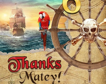 Pirate Thank You Card, Pirate Party, Pirate Ship Birthday Thanks Note