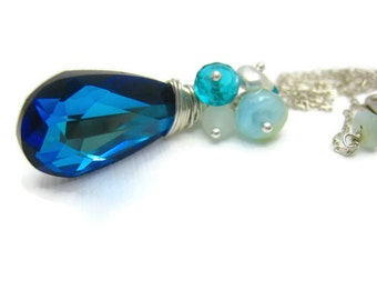 Blue Swarovski Crystal Necklace Blue Crystal Jewelry Blue Jewelry Summer Spring Beach Wedding Style Trends Bridesmaids Gift Idea For Her