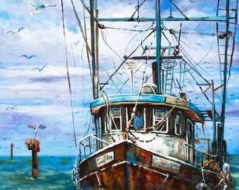Louisiana Shrimp Boat Art, Louisiana Shrimp Boat Painting, Louisiana Bayou Art, Fishing Painting, Louisiana Marine Art Gift FREE SHIPPING!
