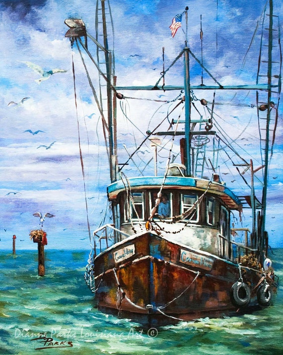 Louisiana shrimp boat art louisiana shrimp boat painting for Fishing boat painting