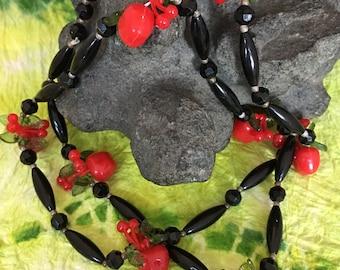 Retro apples and cherries beaded necklace.