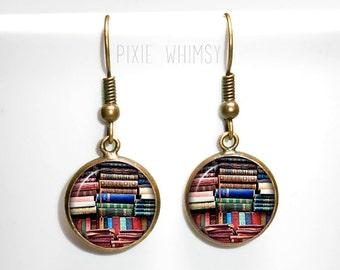 BOOK Earrings, Book Dangle Drop Earrings Vintage Antique Books Glass Photo Art Literary Jewelry Bookshelf Library Librarian Bibliophile Gift