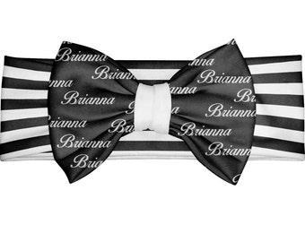 Personalized newborn gift - baby Bow Headband - custom headband - Toddler Headband - Personalized Monogram Bow Headband – black stripes Bow