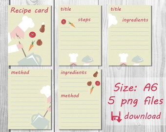 Kitchen Stationary set Recipe Cards Illustrated Recipes Cook sheet Blank Cooking book Printable note dishes Template Download
