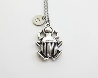 Scarab Necklace, Beetle, Insect, Egyptian Jewelry, Friend Birthday Gift, Silver Jewelry, Personalized Monogram, Hand Stamped Letter Initial