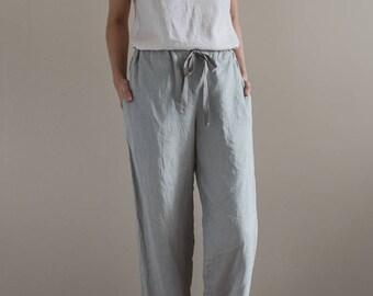 Linen sleepwear / Linen pajama set / Linen pants / Linen loungewear / Ice grey pyjamas / White linen top / Linen lounge pants / Linen PJ's