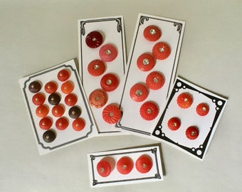 Vintage Early Plastic Buttons in Shades of Red with Rhinestone or Pearl Centers