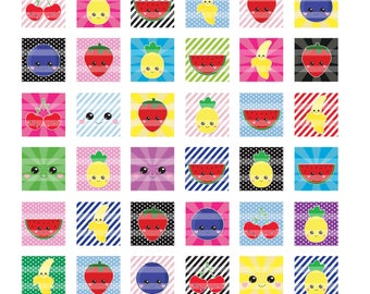 Kawaii Fruit Patterns 1 inch Squares Digital Collage Sheet