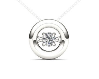 10Kt White Gold 0.10 Ct Diamond In Motion Pendant