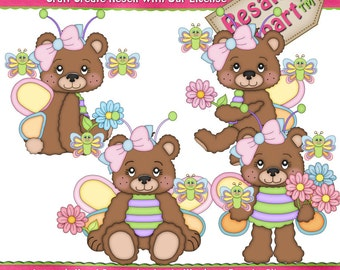 LiL Bears Butterfly Girl Clipart (Digital Download)