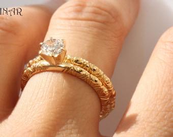 Bridal set, Half carat diamond engagement ring, 14k Gold wedding ring, hand engraved wedding and engagement rings, stack thin ring, ring set