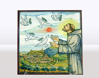 Franco Rufinelli ceramic tile (St. Francis and the 5 continents)