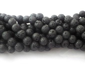 10mm Black Lava Rock Round Beads