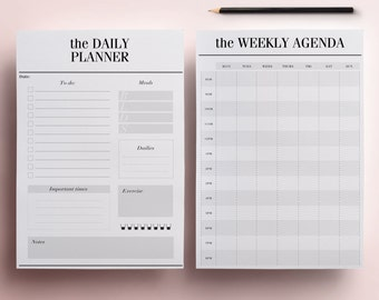 Planner Printable A5 Pack, 13 Modern Organizer Pages including Daily Planner, Meal Planner, Weekly Agenda, To Do List, INSTANT DOWNLOAD