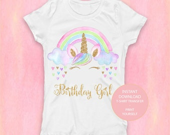 Unicorn Shirt Digital, Unicorn Birthday Girl T-Shirt Transfer, PRINT Unicorn Birthday Party, Magical Unicorn Party