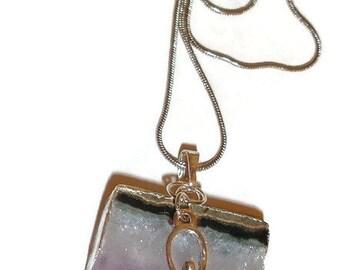 Oh My Goddess Amethyst Druzy Drop Necklace Purple Amethyst Goddess Snake Chain metaphysical goddess gemstone necklace on chain