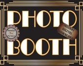 Photo Booth Sign Printable Roaring 20s Prohibition Era Art Deco Gatsby Party Gold Black White Wedding Speakeasy Event Illuminate Sign