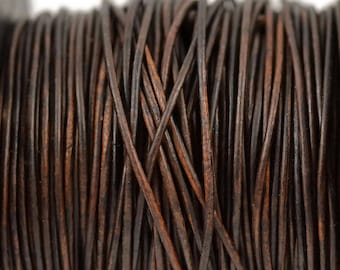 1mm Natural Antique Brown Leather Round Cord - Distressed Matte Finish