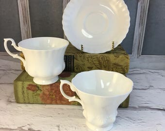 Royal Albert White Reverie Rare Hampton Teacups and Saucers or Lyric Shape Vintage Stunning All White Versatile