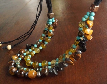 Multi Strand Gemstone Necklace, Tribal Necklace, Boho Stone Necklace, Turquoise Necklace, ON SALE