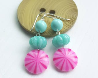 i call my sugar candy - earrings - vintage lucite and sterling - hard candy, peppermint, pink, mint, aqua