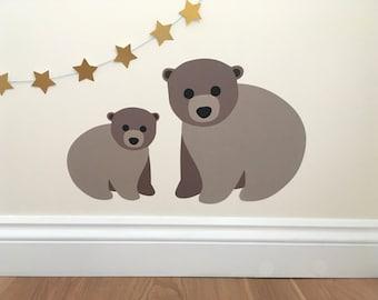Bear Wall Sticker - Bear Decal - Bear - Brown Bear Wall Stickers - Brown Bear Decal - Bear Nursery Decoration - New Baby Gift - Bear Art