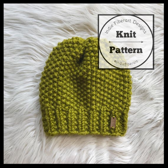 Diy Knitting Pattern The Moss Beanie Textured Slouchy