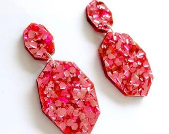 Gemstar Double Drops - Neon Fuchsia Pink Glitter - Geometric Drop Earrings Laser Cut - Each To Own Original