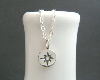 tiny sterling silver compass necklace simple everyday jewelry compass rose points pendant modern wanderlust travel traveler graduation gift
