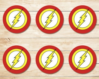 The Flash Sticker / The Flash Cupcake Topper / The Flash Party Favor / The Flash Party / Superhero Party / The Flash Birthday 2 Inch Circles