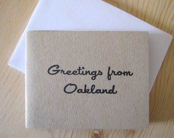 Greetings From Oakland, set of 4 cards with envelopes