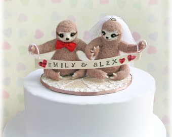 Sloth Wedding Cake Toppers - Unique Needle Felted Three Toed Sloths Topper Alternative Marriage Decor with Customisable Banner