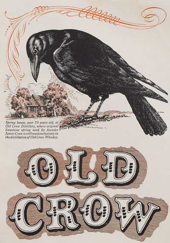 AD50 Vintage Old Crow Whiskey Alcohol Advertising