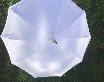 Antique Parasol Frame with restored linen embroidered cover