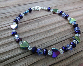 Purple Hearts Ankle Bracelet