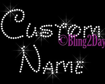 Disney Font - Custom Name or Phrase - CLEAR - Iron on Rhinestone Transfer Bling Hot Fix - DIY