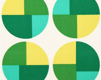 Robert Kaufman Geo Pop Circle Canvas Fabric Lime Green Teal Cream FQ Fat Quarter Cotton